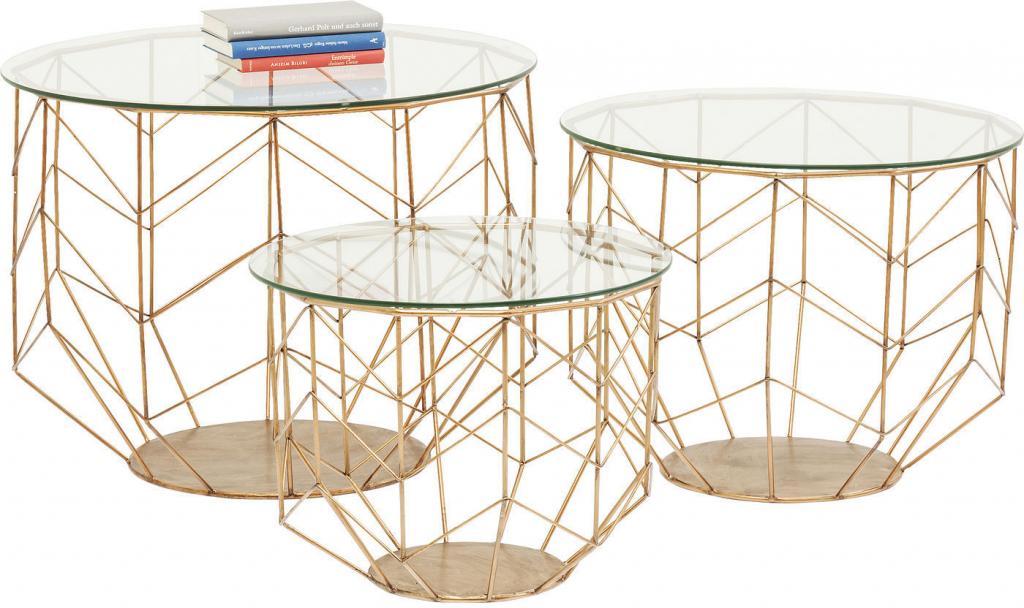 Salontafel Brons Met Glas.Bijzettafel Wire Set Van 3 Brons Kare Design Lil Nl